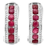 2.25 CT RUBY & DIAMOND .925 STERLING SILVER HOOP EARRINGS