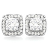 MAGNIFICENT 1 2/3 CTW (50 PCS) FLAWLESS CREATED DIAMOND .925 STERLING SILVER EARRINGS