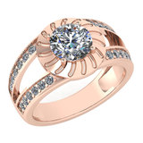 Certified 1.58 Ctw Diamond Wedding/Engagement Style 14K Rose Gold Halo Ring (SI2/I1)