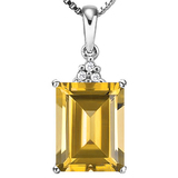 0.87 CTW CITRINE 10K SOLID WHITE GOLD OCTWAGON SHAPE PENDANT WITH ANCENT DIAMONDS