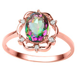 0.96 CT RAINBOW MYSTIC QUARTZ AND ACCENT DIAMOND 0.02 CT 10KT SOLID RED GOLD RING