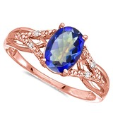0.75 CARAT OCEAN BLUE MYSTIC QUARTZ & 0.04 CTW DIAMOND 14KT SOLID RED GOLD RING