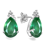 1.03 CT EMERALD AND ACCENT DIAMOND 10KT SOLID WHITE GOLD EARRING