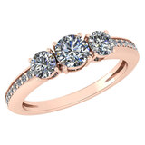 Certified 1.06 Ctw Diamond Wedding/Engagement Style 14K Rose Gold Halo Ring (SI2/I1)
