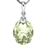 0.67 CTW GREEN AMETHYST 10K SOLID WHITE GOLD OVAL SHAPE PENDANT WITH ANCENT DIAMONDS