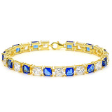 24.1 CT CREATED WHITE SAPPHIRE 925 STERLING SILVER TENNIS BRACELET WITH GOLD PLATED IN SQUARE SHAPE