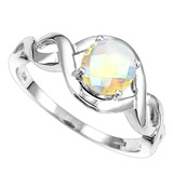 1.13 CT WHITE MYSTICS QUARTZ 10KT SOLID WHITE GOLD RING