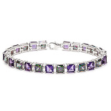 12.05 CT CREATED AMETHYST AND 12.05 CT CREATED MYSTICS 925 STERLING SILVER TENNIS BRACELET IN SQUARE