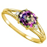 0.39 CARAT RAINBOW MYSTIC QUARTZ & 0.02 CTW DIAMOND 10KT SOLID YELLOW GOLD RING
