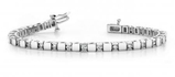 14K WHITE GOLD 1 CTW G-H I1/I2 ALTERNATING DIAMOND BLOCK TENNIS BRACELET