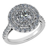 Certified 1.99 Ctw Diamond Wedding/Engagement Style 14K White Gold Halo Ring (SI2/I1)