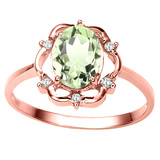 1.01 CT GREEN AMETHYST AND ACCENT DIAMOND 0.02 CT 10KT SOLID RED GOLD RING