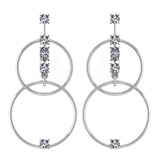 Certified 0.66 Ctw Diamond VS/SI1 Earrings 14K White Gold