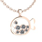 Certified 0.87 Ctw Diamond VS/SI1 Fish Necklace 14K Rose Gold