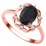 1.29 CT BLACK SAPPHIRE AND ACCENT DIAMOND 0.02 CT 10KT SOLID RED GOLD RING
