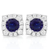 GORGEOUS 2 2/5 CTW CREATED BLUE SAPPHIRE & 1/4 CTW (26 PCS) FLAWLESS CREATED DIAMOND .925 STERLING S