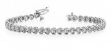 14K WHITE GOLD 1 CTW G-H I1/I2 HEART LINK DIAMOND BRACELET