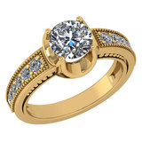 Certified 1.48 Ctw Diamond Wedding/Engagement Style 14K Yellow Gold Halo Ring (SI2/I1)
