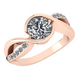 Certified 1.46 Ctw Diamond Wedding/Engagement Style 14K Rose Gold Halo Ring (SI2/I1)