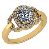 Certified 1.63 Ctw Diamond VS/SI1 Halo Ring For 14K Yellow Gold