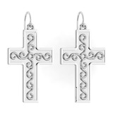 Gold Cross Wire Hook Earrings 14K White Gold Made In Italy