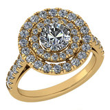 Certified 1.99 Ctw Diamond Wedding/Engagement Style 14K Yellow Gold Halo Ring (SI2/I1)