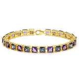 12.05 CT CREATED AMETHYST AND 12.05 CT CREATED MYSTICS 925 STERLING SILVER TENNIS BRACELET WITH GOLD