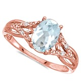 0.66 CARAT AQUAMARINE & 0.04 CTW DIAMOND 14KT SOLID RED GOLD RING