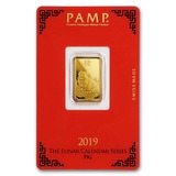 PAMP Suisse 5 Gram Gold Bar 2019 - Pig Design