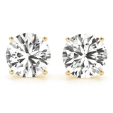 CERTIFIED 0.71 CTW ROUND D/I1 DIAMOND SOLITAIRE EARRINGS IN 14K YELLOW GOLD
