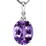 0.69 CTW AMETHYST 10K SOLID WHITE GOLD OVAL SHAPE PENDANT WITH ANCENT DIAMONDS