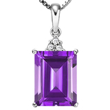 0.96 CTW AMETHYST 10K SOLID WHITE GOLD OCTWAGON SHAPE PENDANT WITH ANCENT DIAMONDS