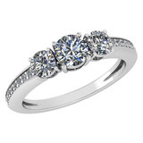 Certified 1.06 Ctw Diamond Wedding/Engagement Style 14K White Gold Halo Ring (SI2/I1)