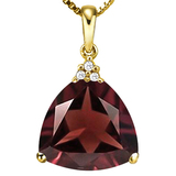 1.02 CTW GARNET 10K SOLID YELLOW GOLD TRILLION SHAPE PENDANT WITH ANCENT DIAMONDS
