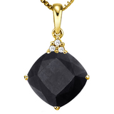 1.11 CTW BLACK SAPPHIRE 10K SOLID YELLOW GOLD CUSHION SHAPE PENDANT WITH ANCENT DIAMONDS