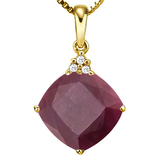 1.28 CTW RUBY 10K SOLID YELLOW GOLD CUSHION SHAPE PENDANT WITH ANCENT DIAMONDS