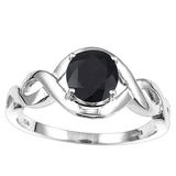 1.33 CT BLACK SAPPHIRE 10KT SOLID WHITE GOLD RING
