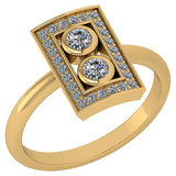 Certified 0.32 Ctw Diamond Wedding/Engagement Style 14K Yellow Gold Halo Ring (SI2/I1)