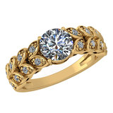 Certified 1.47 Ctw Diamond Wedding/Engagement Style 14K Yellow Gold Halo Ring (SI2/I1)