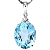 0.81 CTW SKY BLUE TOPAZ 10K SOLID WHITE GOLD OVAL SHAPE PENDANT WITH ANCENT DIAMONDS