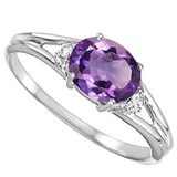 0.44 CARAT AMETHYST & 0.02 CTW DIAMOND 10KT SOLID WHITE GOLD RING