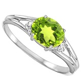 0.48 CARAT PERIDOT & 0.02 CTW DIAMOND 10KT SOLID WHITE GOLD RING
