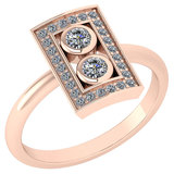 Certified 0.32 Ctw Diamond Wedding/Engagement Style 14K Rose Gold Halo Ring (SI2/I1)