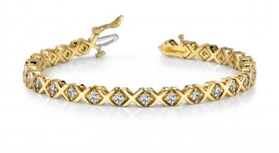 14KT YELLOW GOLD 1 CTW G-H VS2/SI1 X AND O DIAMOND BRACELET