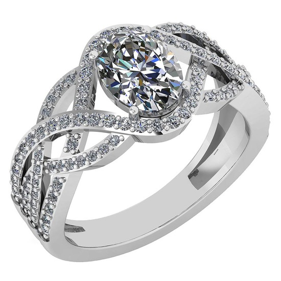 Certified 1.79 Ctw Diamond VS/SI1 Halo Ring For 14K White Gold