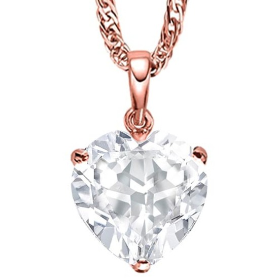 0.49 CARAT WHITE TOPAZ 10K SOLID RED GOLD HEART SHAPE PENDANT