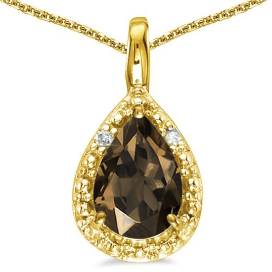 0.35 CARAT SMOKEY QUARTZ & 0.01 CTW DIAMOND 14KT SOLID YELLOW GOLD PENDANT