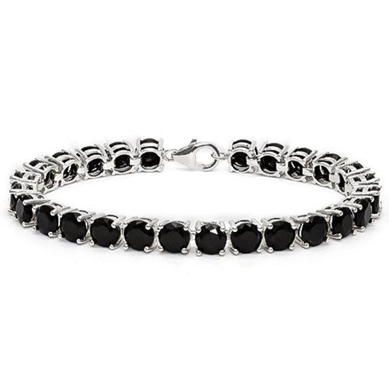 27 CT CREATED BLACK SAPPHIRE 925 STERLING SILVER TENNIS BRACELET IN ROUDN SHAPE