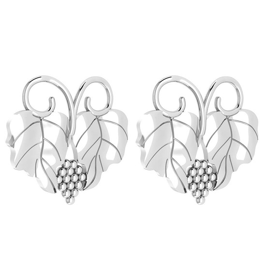 Graps Leaf Style Stud Earrings For beautiful ladies 14k White Gold MADE IN ITALY