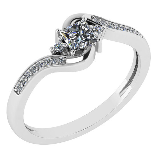 Certified 0.51 Ctw Diamond 14k White Gold Halo Promise Ring Made In USA